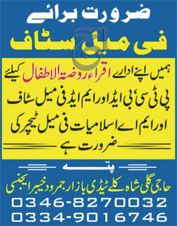 Jobs In Iqra Rozatul Atfal Khyber Agency  Oct 2017