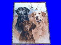 black yellow chocolate lab trio blanket throw tapestry