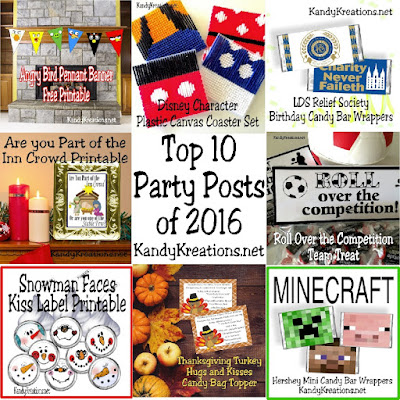 We shared lots of fun DIY party projects and printables in 2016 at KandyKreations.net.  Check out your top 10 favorite posts and see what was trending.  Was your favorite on the list?