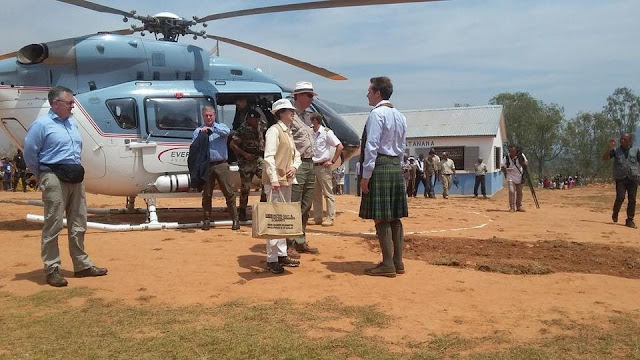 Her Royal Highness The Princess Royal and Vice Admiral Sir Tim Laurence are greeted by Jamie Spencer