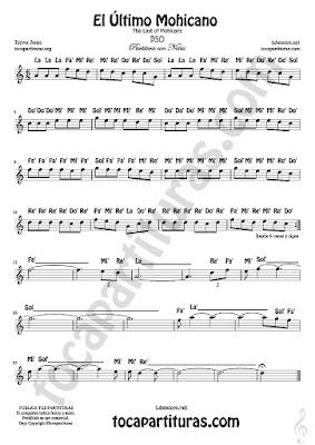 10 El Último Mohicano Partitura Fácil con Notas The Last of Mohicans