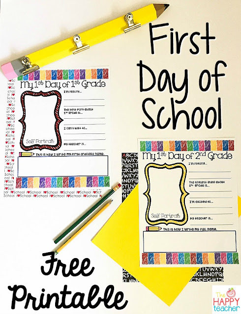 Free activity for the first day of school Kindergarten, Preschool, First grade, second grade