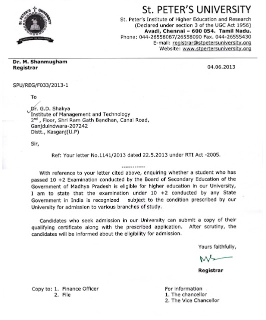 Board of secondary education madhya bharat gwalior mp october 2015 ram open school received approval letter from tnou yadclub Gallery