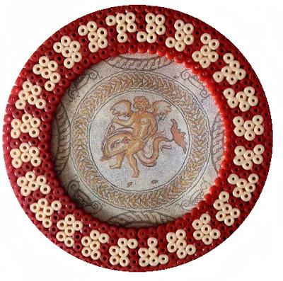 Hama bead Roman mosaic frame