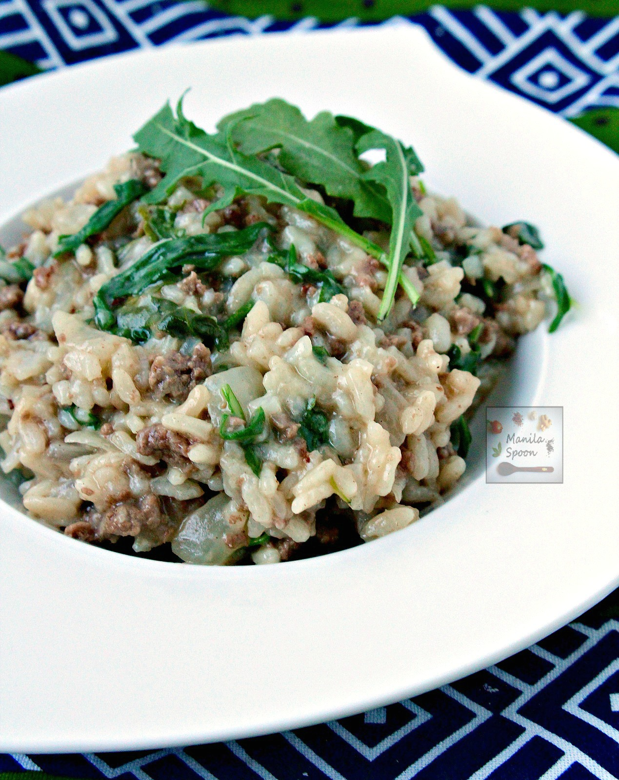 One Pot Beef Risotto with Arugula