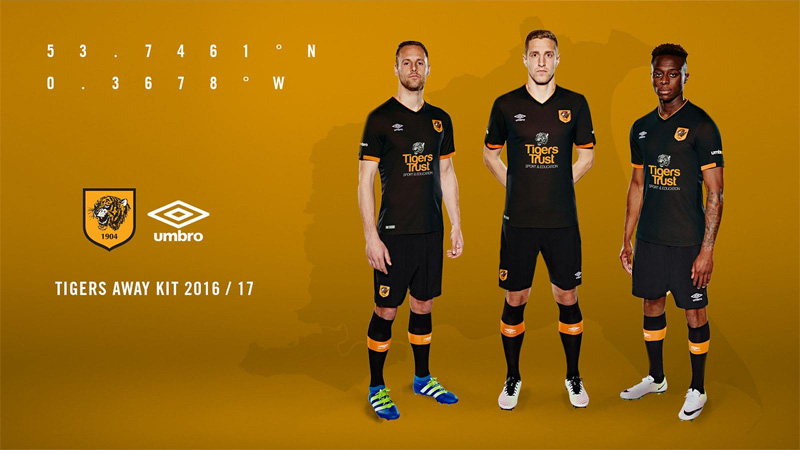 Camisas de Futebol  Away kit do Hull City para a temporada 2016-17 65041e430064a