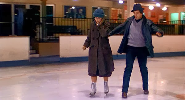 Rocky and Adrian in the skating rink in Rocky.