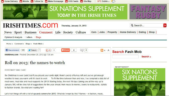 Emma Henderson One To Watch in 2013, Irish Times
