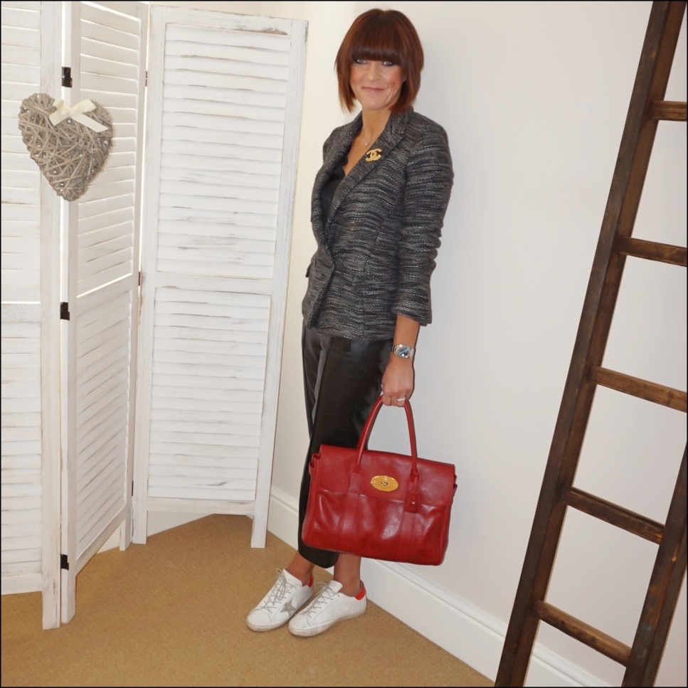 my midlife fashion, isabel marant etoile knitted double breasted jacket, marks and spencer v neck silk sleeveless top, marks and spencer leather straight leg trousers, mulberry bayswater bag, golden goose superstar low top leather trainers, chanel vintage brooch
