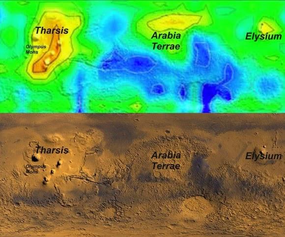 concentração de metano em Marte mapa