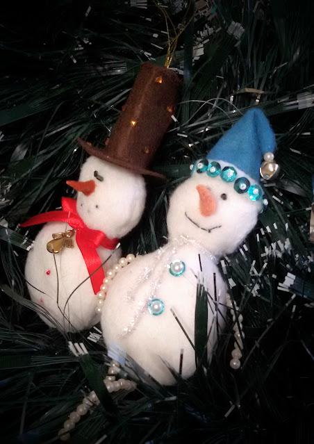 снеговик из фетра, новогодние игрушки, елочные игрушки
