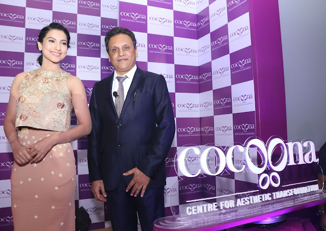 Dr. Sanjay Parashar, the brain behind Cocoona Centre for Aesthetic Transformation with Gauahar Khan during the brand launch