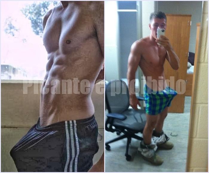 Veja as fotos de dois homens com a pica dura quase rasgando a bermuda