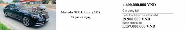 Giá xe Mercedes S450 L Luxury 2018 hấp dẫn bất ngờ