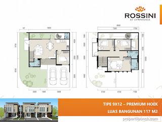 Denah rumah cluster Rossini tipe L9 Hoek