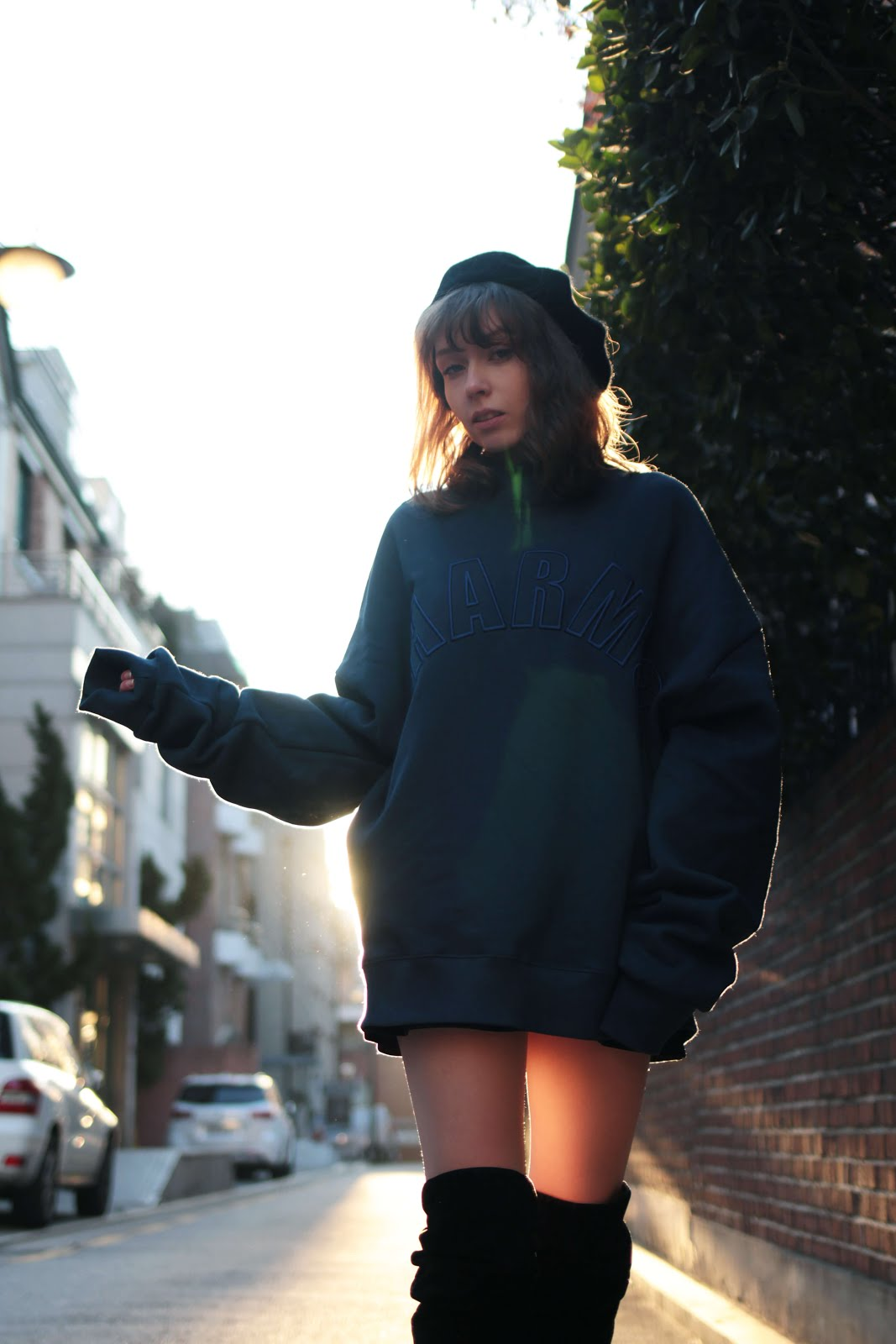 CHARM'S half high neck sweatshirt how to style korean brand