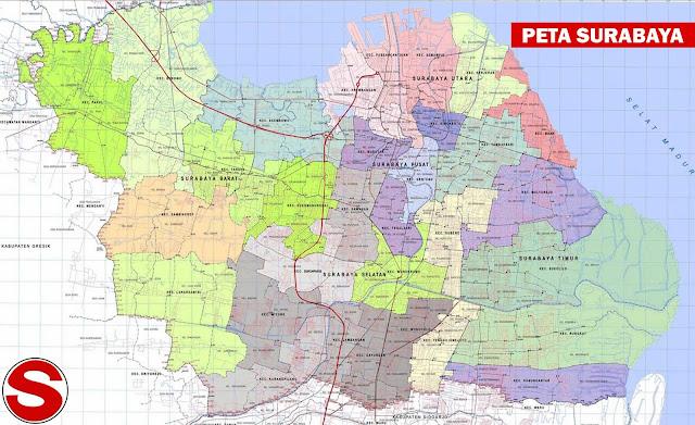 Gambar Peta Surabaya Administratif