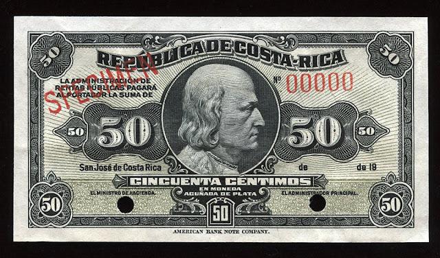 Costa Rica Centimos Silver Certificate