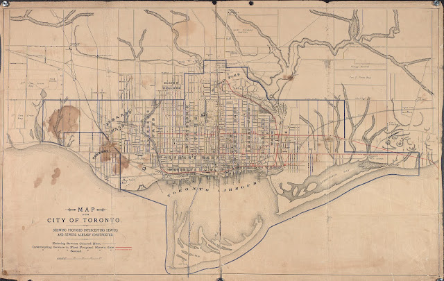 1888 Toronto Plan of Proposed Interceptor Sewers and Sewers already constructed