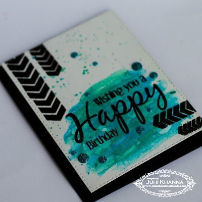 Handstamped birthday card using faber castell gelatos on glossy cardstock, using stamps from Happy Little Stampers