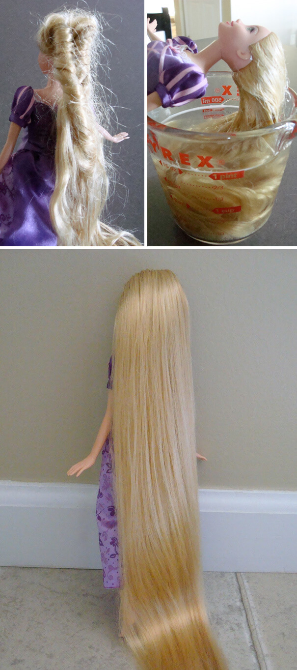 18 Hilarious Hacks Prove That Some Parents Are Geniuses - Water And Conditioner Can Get A Doll's Tangles Out Easily