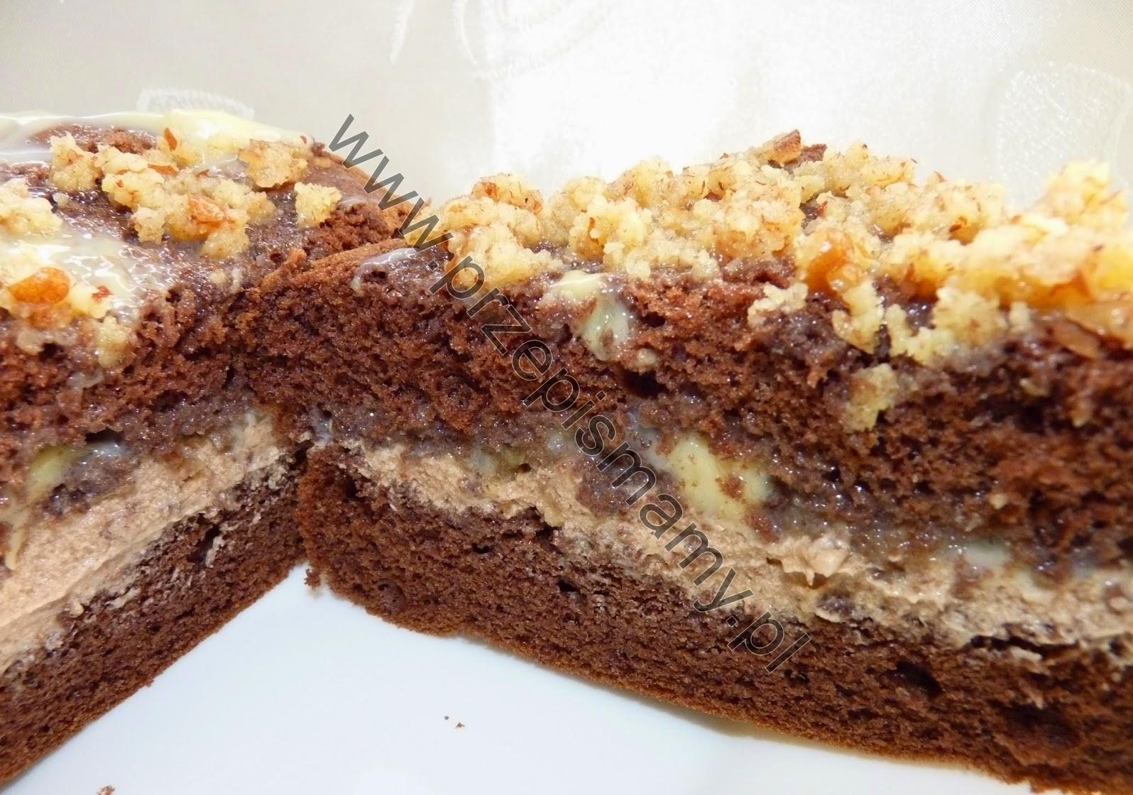 Ciasto czekoladowe z wkładką orzechową