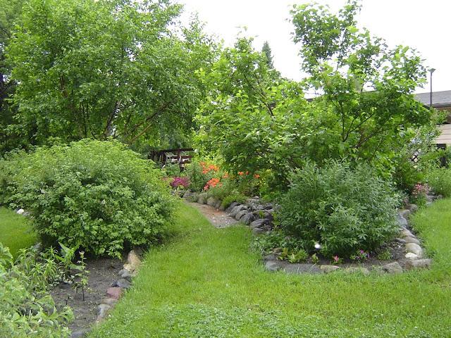 Grassy path through flower beds
