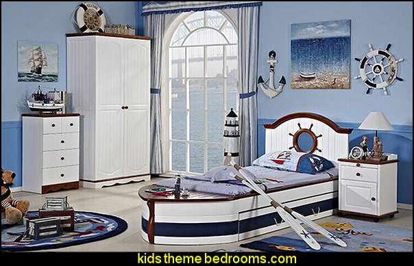 American country custom furniture  pirate bed  nautical bedroom ideas - decorating nautical style bedrooms - nautical decor - sailing ship theme - coastal seaside beach theme - boat beds - beach house decorating - Travelers and seafarers - nautical bedding - nautical bedroom furniture