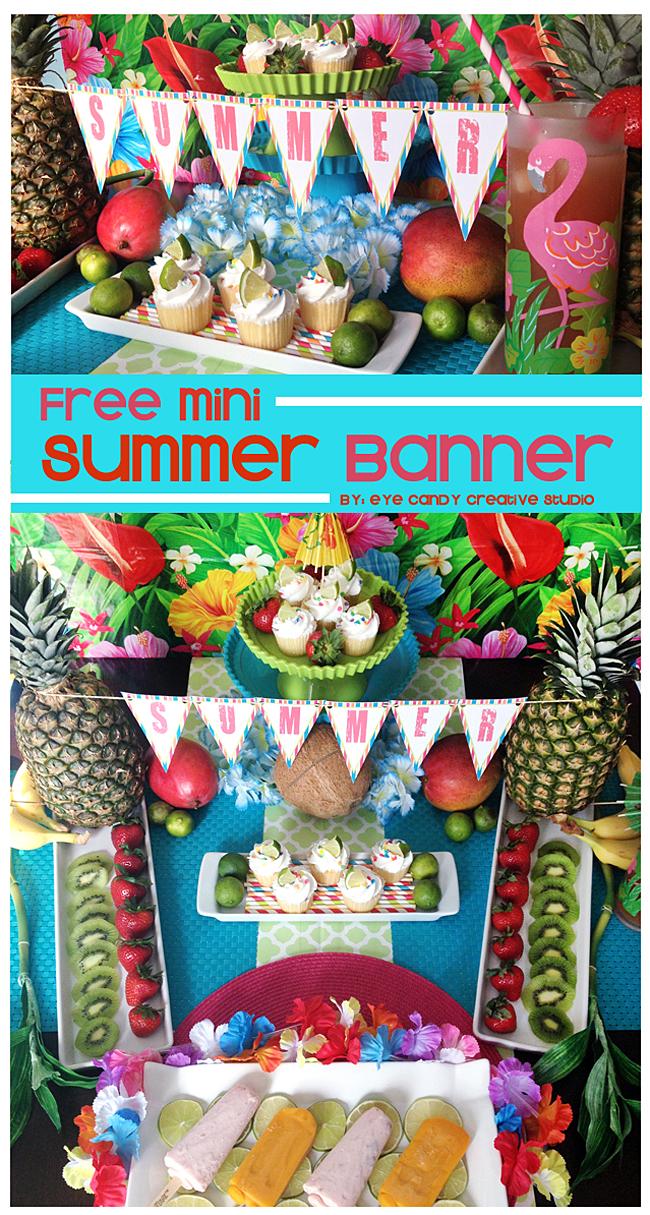 summetime, free summer banner, penant banner, luau, summer decor