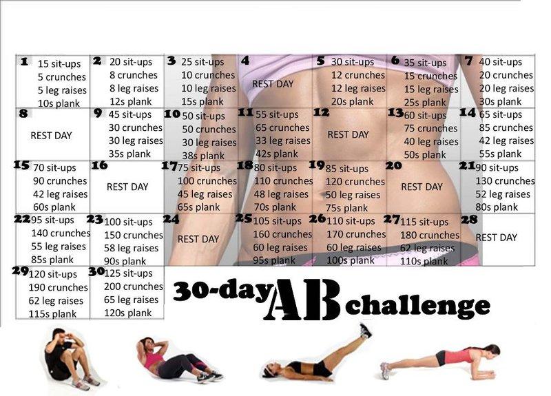 free 30 day ab abdominal challenge workout routine calendar