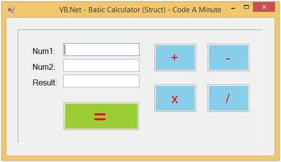 write a vb program to create a calculator using control array