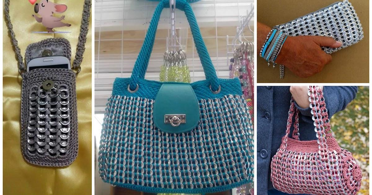 Aprende c mo tejer bolsos y fundas con anillas de latas - Como hacer bolsos tejidos ...