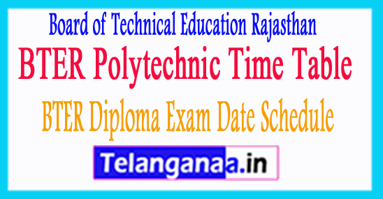 BTER Diploma Exam Date Schedule 2018 BTER Polytechnic Time Table