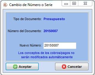 imagen de la ventana del cambio de numero del programa de taller