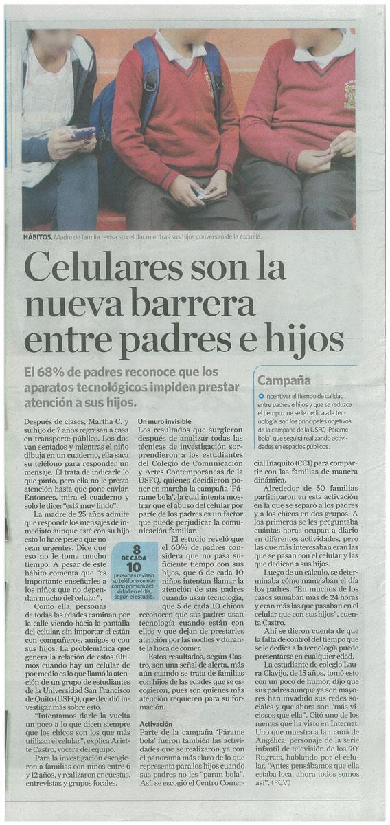 """""""Celulares son la nueva barrera entre padres e hijos"""" - Recuperado de Diario La Hora"""