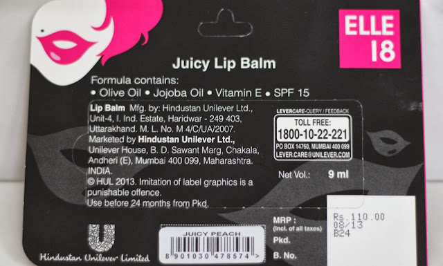 Elle 18 Juicy Lip Balm - Juicy Peach - These lip balms are filled with goodness of Olive Oil, Jojoba Oil, Vitamin E, SPF 15 and claim to nourish and soften the lips without making sticky. But did they impress me as much as Color Pop Eye Liners did?