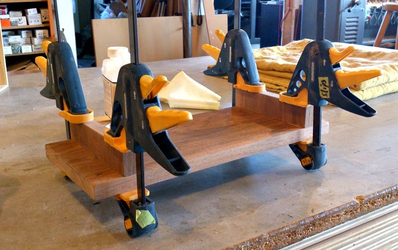 Use clamps to hold wood in place while glue dries