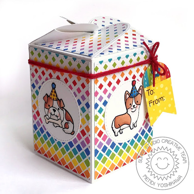Sunny Studio Stamps Party Pups Dog Themed Birthday Gift Box (using Wrap Around Box Die & Surprise Party 6x6 Paper)