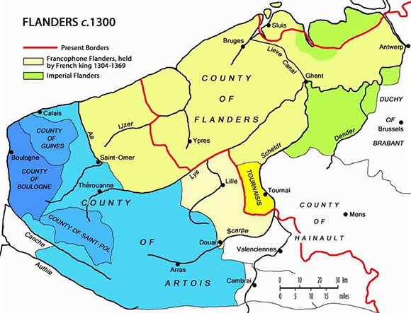 flanders ,french king, be,Initial dispositions of French & Flemings, battle of Courtrai