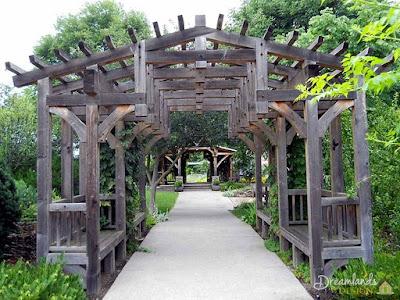 Wooden garden arbors