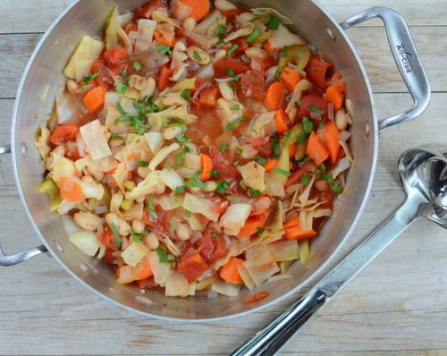 Cabbage & White Bean Stew, another easy, healthy vegetable soup ♥ AVeggieVenture.com