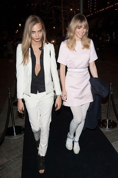 Kara Devlin and Suki Waterhouse at a party in London