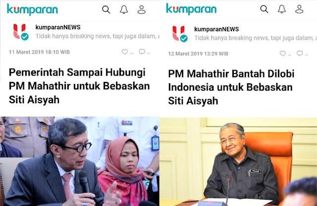 PM Mahathir Bantah Dilobi Indonesia untuk Bebaskan Siti Aisyah