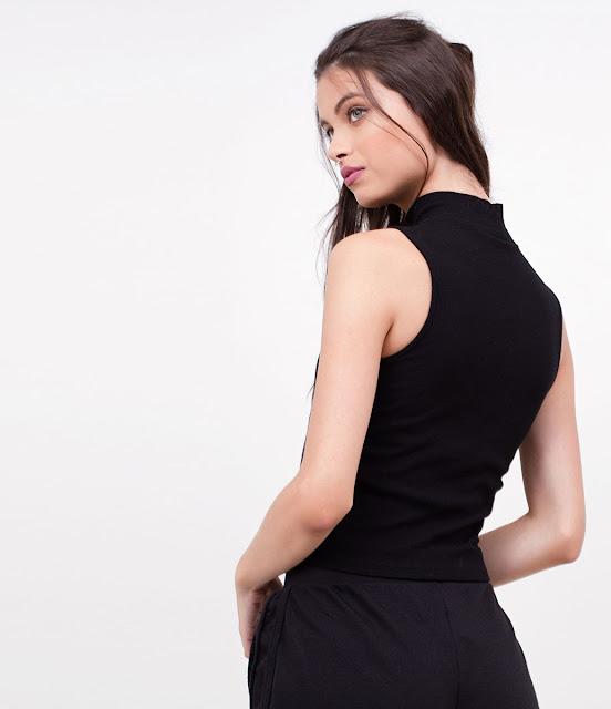 Moda Blusa Cropped com Gola Alta