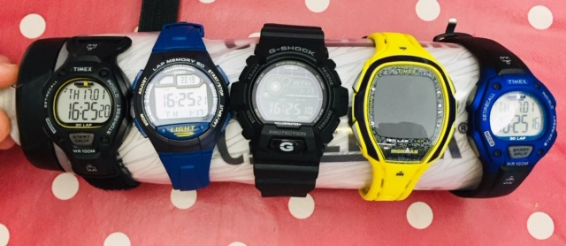 size comparison of Timex Ironman, Casio W734. Casio G-shock 8900, Timex Ironman lap 150 and Timex Ironman