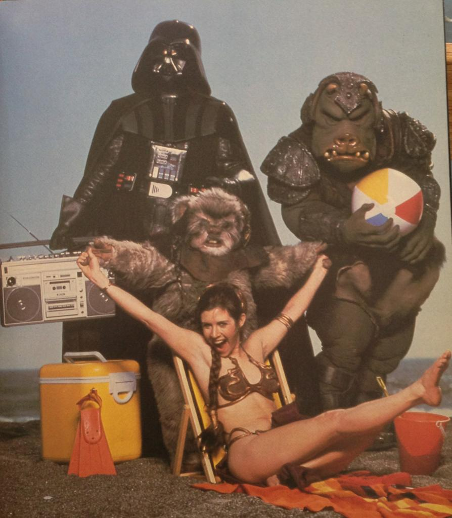 leia and vader at the beach in a bathing suit