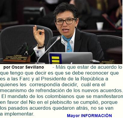 Las Farc y el presidente Santos debían decidir el mecanismo de refrendación: Claudia López