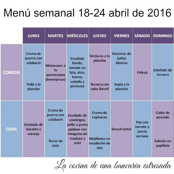 Menú semanal del 18 al 24 de abril de 2016