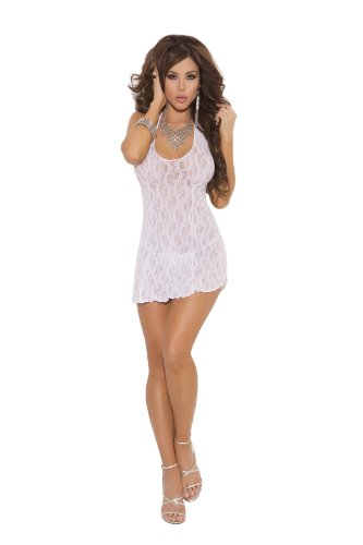 a3b0b58db088 Elegant Moments Women's Plus-Size Lace Halter Mini Dress, White, Queen Size  2019