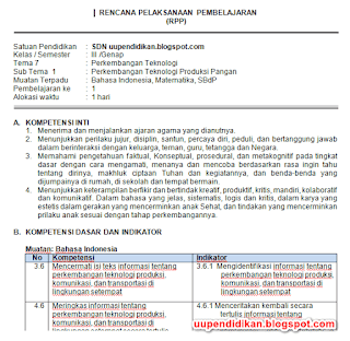 Download RPP Kelas 3 Tema 7 Kurikulum 2013 Revisi 2018